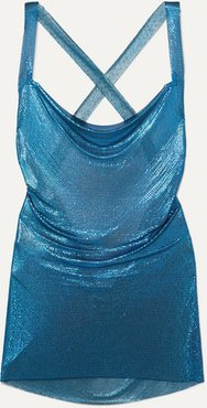 Hailey Open-back Chainmail Mini Dress - Teal