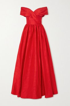 Off-the-shoulder Silk-shantung Gown - Red