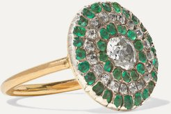 1800s Silver-topped Gold, Diamond And Emerald Ring