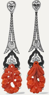 Collection Platinum And 18-karat White Gold Diamond, Coral And Enamel Earrings