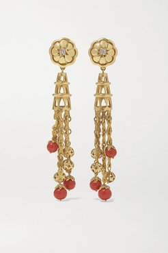 Mid-20th Century 18-karat Gold, Coral And Diamond Earrings