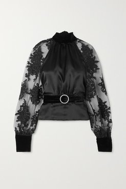 Open-back Belted Lace-trimmed Tulle, Silk-satin And Velvet Blouse - Black