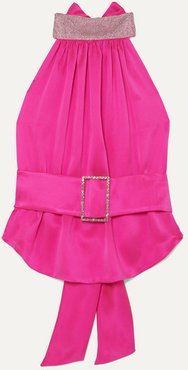 Open-back Belted Crystal-embellished Silk-satin Halterneck Top - Bubblegum