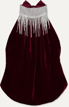 Open-back Crystal-embellished Silk-velvet And Satin Halterneck Top - Burgundy