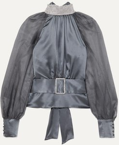Open-back Belted Crystal-embellished Silk-satin And Tulle Blouse - Gunmetal