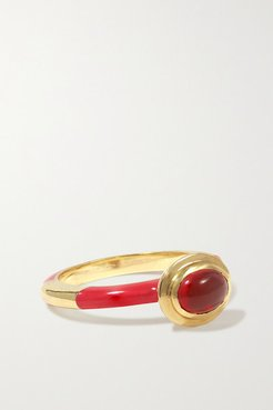 Candy 14-karat Gold, Enamel And Opal Ring