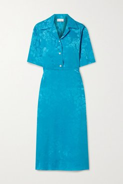 Cutout Floral-jacquard Midi Dress - Turquoise