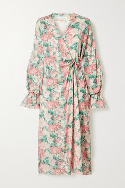 Floral-print Silk-blend Georgette Wrap Dress - Pink