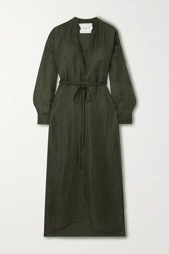 Belted Cotton And Linen-blend Maxi Dress - Army green