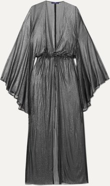 Nemesis Pleated Metallic Silk-tulle Robe - Silver