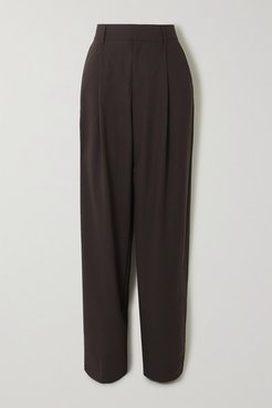 Net Sustain Pleated Organic Wool-blend Tapered Pants - Chocolate