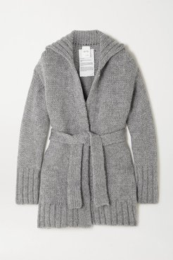 Net Sustain Belted Organic Wool And Alpaca-blend Cardigan - Gray