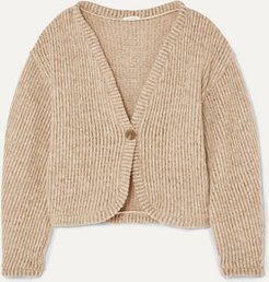 Net Sustain Ribbed Wool-blend Cardigan - Taupe