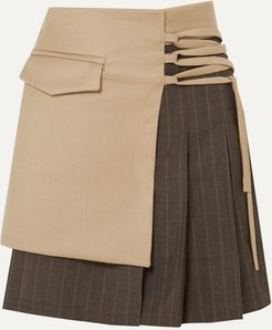 Net Sustain Layered Wool-blend And Pleated Pinstriped Wool Mini Skirt - Beige
