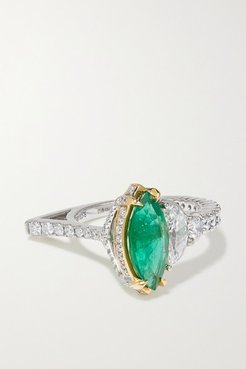 18-karat White And Yellow Gold, Emerald And Diamond Ring - White gold