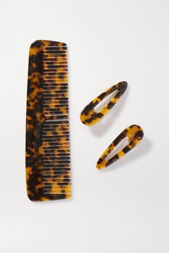 Willa And Kelly Tortoiseshell Resin Comb And Hair Clips Set - Brown