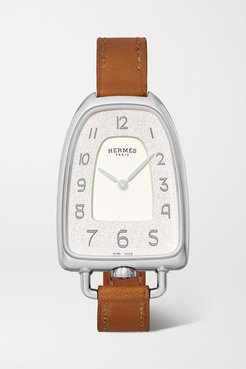 Galop D'hermès 26mm Medium Stainless Steel And Leather Watch - Silver