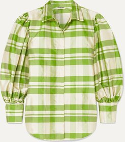 Checked Silk-charmeuse Blouse - Green