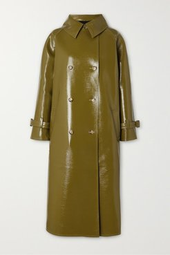 Double-breasted Glossed Faux Textured-leather Trench Coat - Green