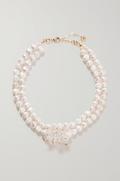 Gold-tone, Pearl And Quartz Necklace