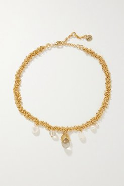 Droplet Gold-plated, Pearl And Crystal Necklace