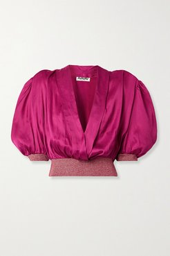 Wrap-effect Metallic Stretch Knit-trimmed Satin Blouse - Magenta