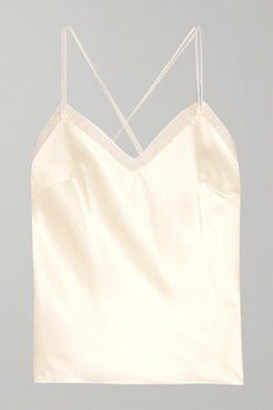Lenny Organza-trimmed Satin Camisole - Off-white