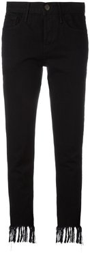 frayed cropped mid-rise jeans - Black