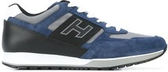 lace-up logo trainers - Blue