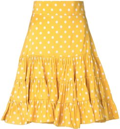 polka ruffle mini skirt - Yellow