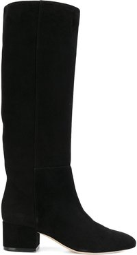 below-the-knee suede boots - Black