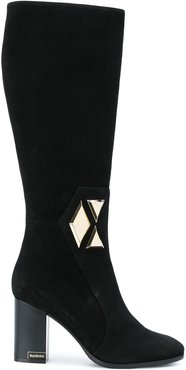 geometric detail knee boots - Black