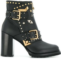 embellished ankle boots - Black