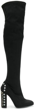 embellished heel thigh boots - Black
