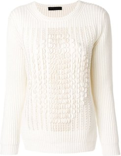 jumper with scalloped trim - White