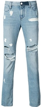 ripped slim-fit jeans - Blue