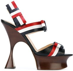 Open Toe Shaped Platform Heel (15 Cm) With Bow Strap In Pebble Lucido Leather & Calf Leather - Multicolour
