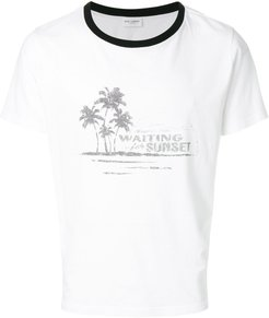 distressed-effect printed ringer T-shirt - White