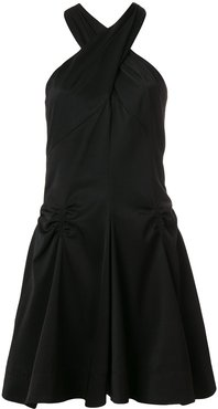 ruched detail halterneck dress - Black