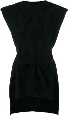 ribbed belted sleeveless top - Black