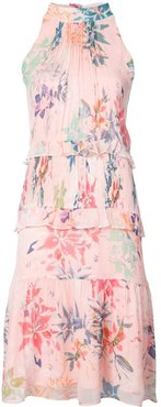 halterneck floral print dress - Pink