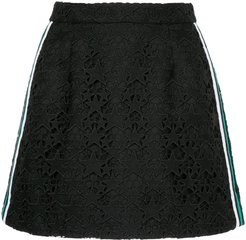 striped guipure star mini skirt - Black