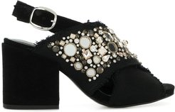 embellished open-toe sandals - Black