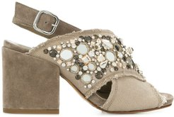 gem embellished block heel sandals - Neutrals