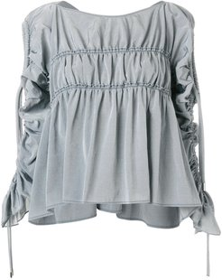 gathered detail blouse - Grey