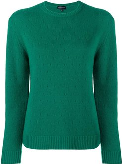 cashmere perforated pattern jumper - Green