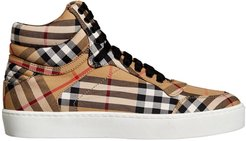 Vintage Check Cotton High-top Sneakers - Yellow