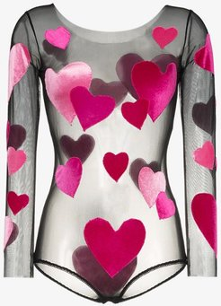 hearts applique round neck bodysuit