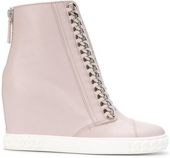 chain-trimmed wedge sneakers - PINK