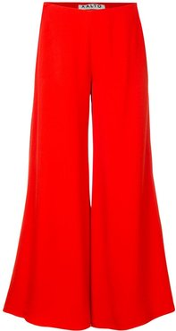 cropped wide leg trousers - Red